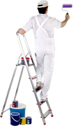 painter on a ladder painting